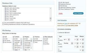 Voorbeeld Backup Job van BackWPup