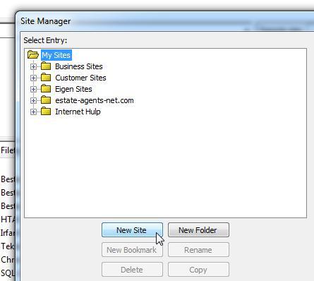 FileZilla Sitemanager Nieuw