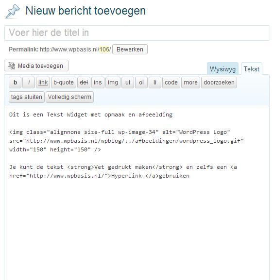 WordPress Bericht HTML Code