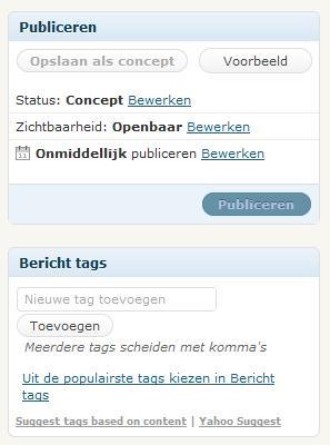 Wordpress Bericht Publiceren en Tags