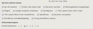 WordPress Dashboard Schermopties