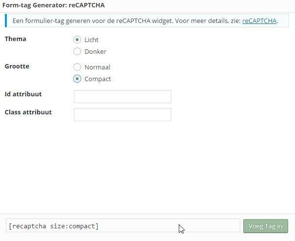 Invoegen reChaptca-Bewerk contactformulier ‹ Website Beginners Gids