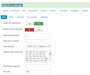 sh404SEF configuratie Control panel