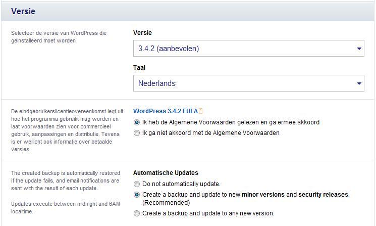 Versie informatie van WordPress